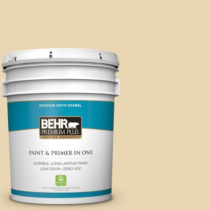 BEHR Premium Plus 5-gal. #ppf-13 Sunning Deck Zero VOC Satin Enamel Interior Paint, Ppf-13 Sunning Deck Satin