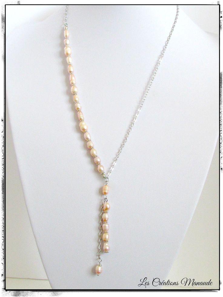 Collier perle d'eau douce grain de riz rose ,chaîne acier inoxydable  22$