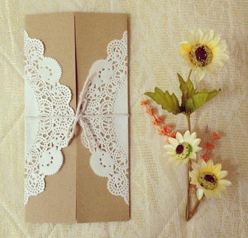 Doily wedding invitations card