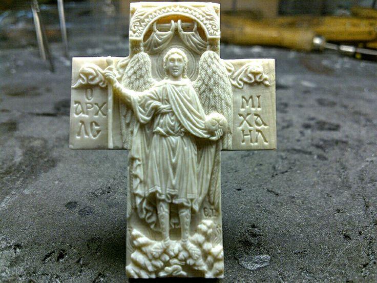Miniature cross 5×3,9 Archangel Michael hand made by Vangellis tsoubris