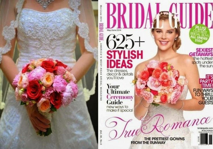 Such BEAUTIFUL Flowers!! I got the inspiration from the magazine cover on the right. The wrap on my stems was from Hobby Lobby. Fit perfectly with my dress!! Vintage Travel Themed Wedding!  In a Shark Reef!! In LAS VEGAS!! drewkariwedding.blogspot.com  #diy #wedding #travel #fun #vegas #sharkreef #mandalaybay