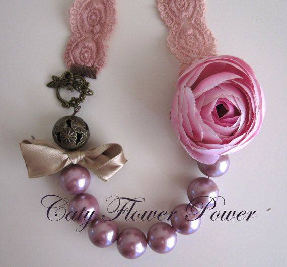 Christmas Necklace Pink Statement Romantic by catyflowerpower