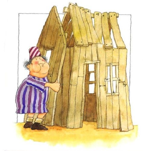 """(Het huis op de rots - prent 8:) """"Ik wil dat mijn huis snel klaar is,"""" zegt hij. """"Dit plekje is goed."""" Hij bouwt zijn huis op het zand.  Hij timmert erop los en hij fluit een vrolijk wijsje. Al snel is hij klaar met zijn huis. Hij gaat binnen en sluit de deur."""