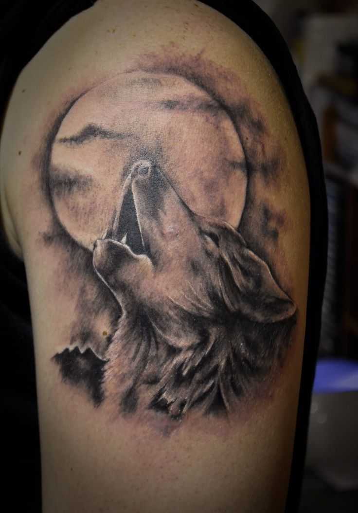 watercolor wolf moon tattoo - Google Search