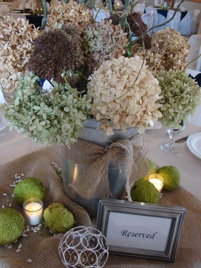 décoration de table mariage en hortensias séchés