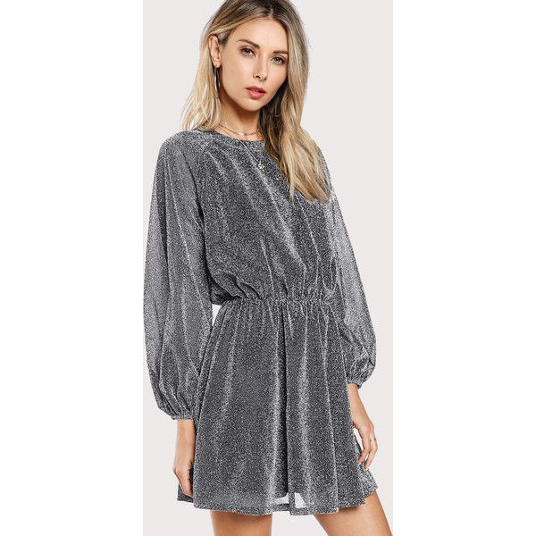 SheIn(sheinside) Bishop Sleeve Glitter Dress ($18) ❤ liked on Polyvore featuring dresses, long sleeve dress, long sleeve day dresses, a-line dresses, long-sleeve maxi dress and short sleeve dress