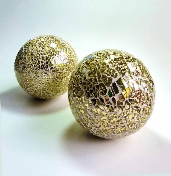 2 Vintage 5 Inches Decorative Disco Groovy Gold Mirrored Glass Mosaic Balls Reflective Orbs Retro Mod Spheres I Mosaic Glass Mirrored Glass Decorative Spheres