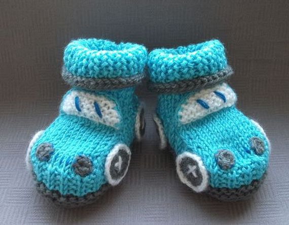 Knitted baby booties car booties boy booties by Mimmistore on Etsy, $16.99