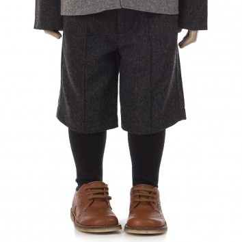 A For Apple Boys Grey Wool Winter Shorts with Silky-Feel Lining at Childrensalon.com
