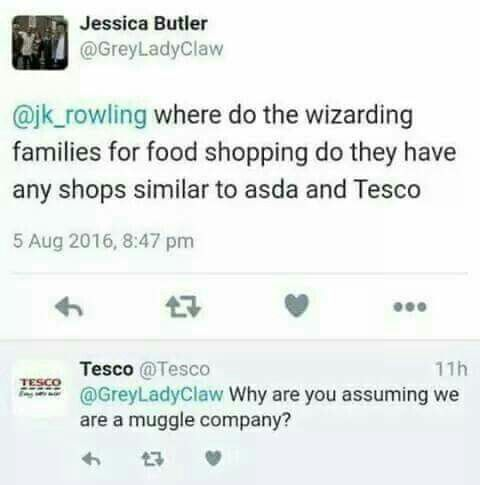 Harry Potter • wizarding food needs • apparently Tesco caters to both muggles and the wizarding community