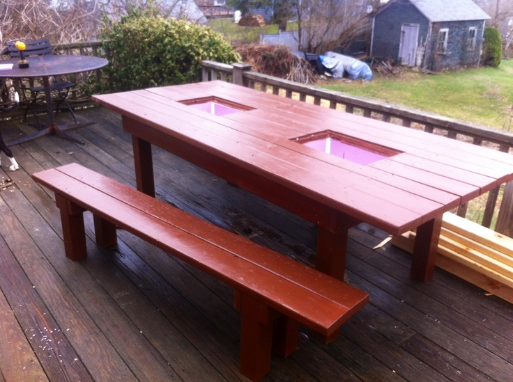 8 39 patio table with built in coolers diy pinterest for Patio table with built in cooler