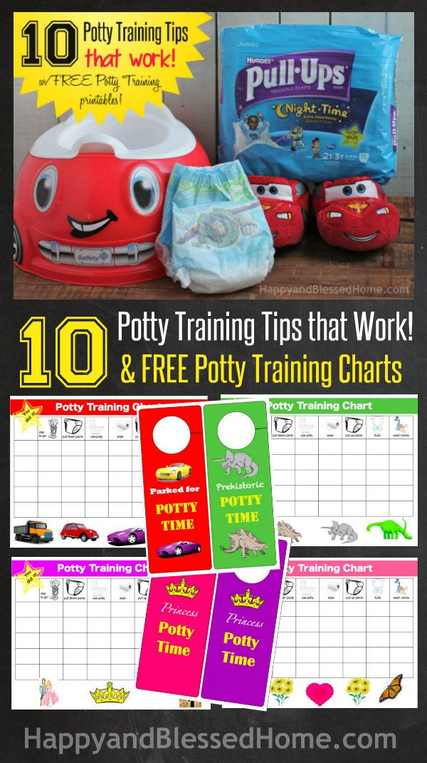 10 Potty Training Tips that Work and FREE Potty Training Charts from HappyandBlessedHome.com with fun graphics and easy activities to encourage your toddler in toilet training.