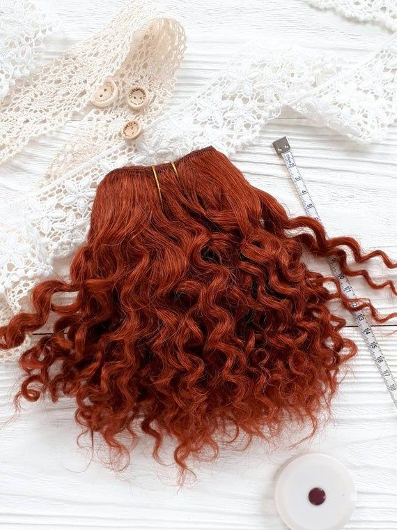 mohair weft Copper red, jerry curly, doll hair, wefted mohair