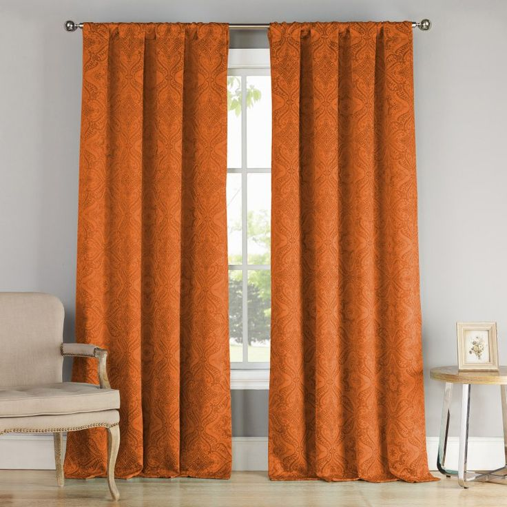 Duck River Courtney Blackout Pole Top Pair Curtain Panels Orange - COROR=6 /11073