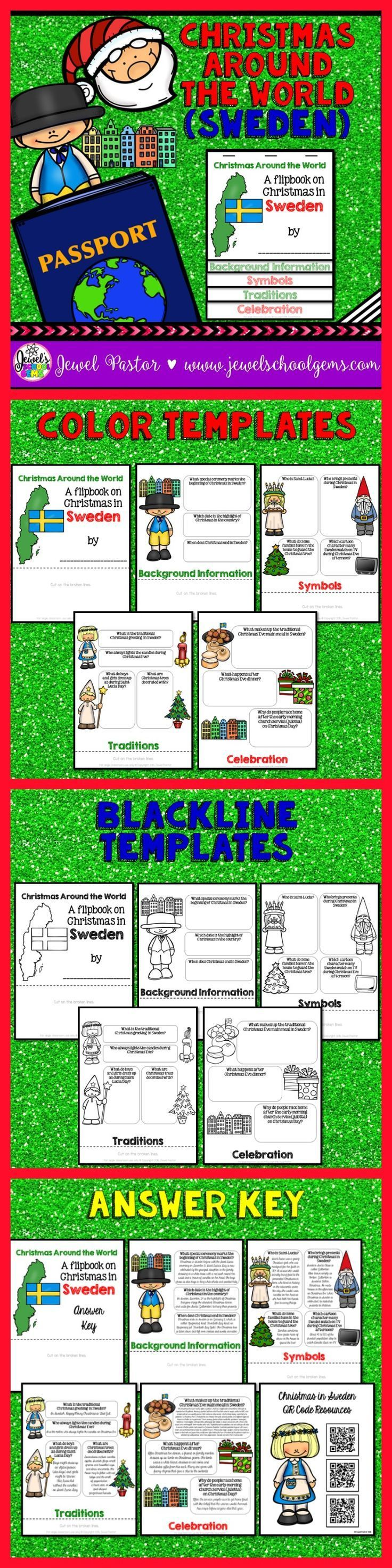 Christmas Around the World Activities (Christmas in Sweden Research Flipbook) |  This Christmas Around the World resource contains: *5 pages of color templates *5 pages of black and white templates *5 pages with answers to the questions (Answer Key) *1 page with QR Code resources | Children will learn about Christmas Around the World traditions and celebrations, specifically in Sweden, in a fun and interactive way with this Christmas Around the World flipbook research project!