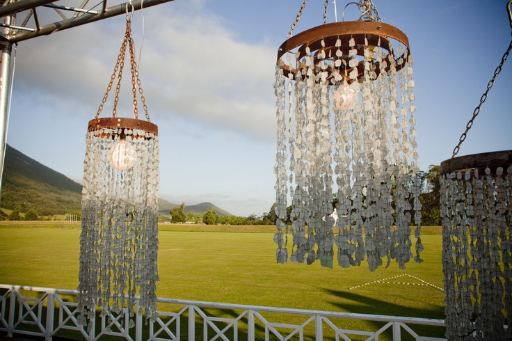 Recycled Glass Chandelier - Alexia's Rustic Beach theme 21st - www.eventsandtents.co.za