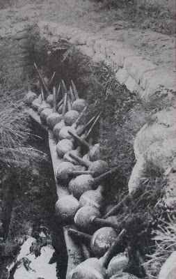 WW1. Dump of 'Toffee Apples' during the war.