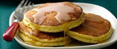 Love eggnog? You're going to love these eggnog pancakes made with Bisquick®, eggnog and nutmeg. They cook up high and fluffy and get topped off with a luscious buttery rum and cream-spiked maple syrup drizzle. Dig in!