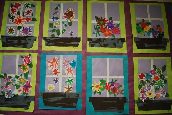 kids spring art projects | Art project ideas for kids / Window Boxes-Spring bulletin board ...