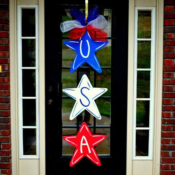 4th of July Wreath, Door Hanger: 4th of July Decor, Summer Door Decoration, Patriotic Wreath