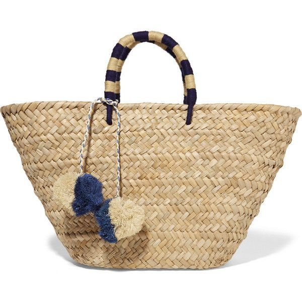 Kayu St Tropez woven seagrass tote (£95) ❤ liked on Polyvore featuring bags, handbags, tote bags, neutrals, purse tote, tote hand bags, tote handbags, woven purse and woven handbags