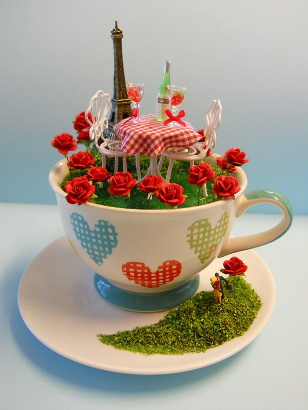 J'adoreParis in the spring time. Any time, for that matter. Bring Paris to your home year-round via this miniature al fresco scene in a teacup by Hobart maker Love Harriet.Love Harriet presents a miniature world in a teacup – a unique gift for a unique occasion.