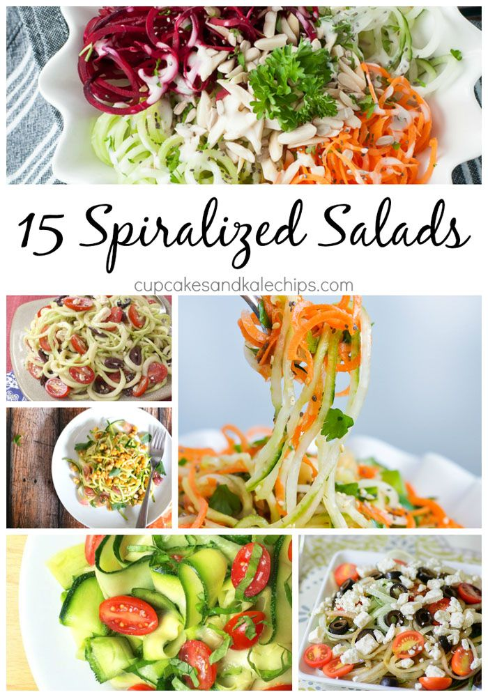 15 Spiralized Salad Recipes made from the best produce from your garden, CSA, or farmers market. Break out your spiralizer and start making zoodles, squoodles, cucumber noodles and more.   cupcakesandkalechips.com   gluten free recipes