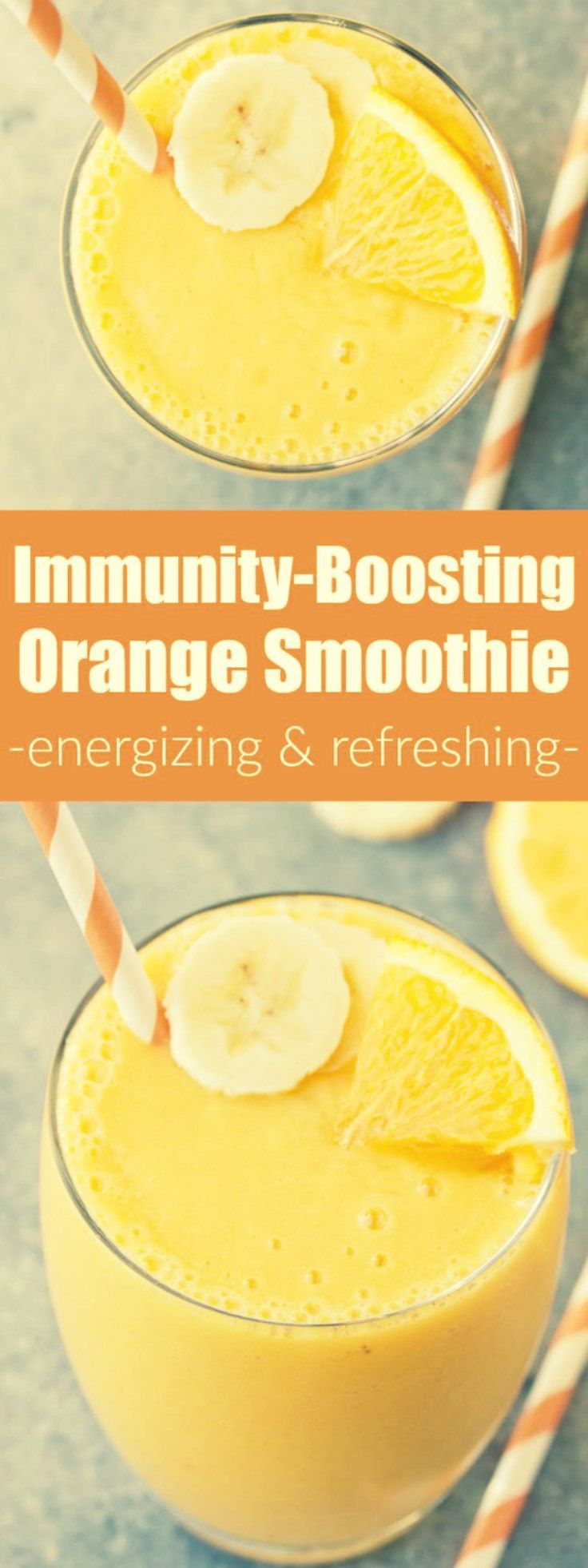 - Immunity Boosting Orange Smoothie  -   This Immunity Boosting Orange Smoothie packs a hefty dose of Vitamin C! It has a refreshing orange flavor with a hint of vanilla!  #smoothie #batido #orange #naranja #banana #platano #mango #vegan #vegano  via: @kristinekitchen
