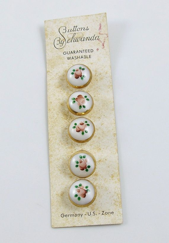 Vintage Set of 5 Painted Glass Buttons Pink by SewingVineyard