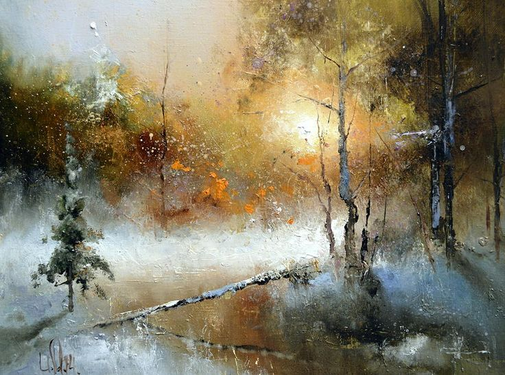 Winter Sunset by Igor Medvedev   Belongs to the Gallery RUSSIAN ARTISTS NEW WAVE.  Beautiful golden sunset in the winter forest covered with snow and with reflections in the small river..