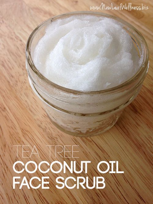 Homemade Tea Tree Coconut Oil Face Scrub. Oh my gosh, this smells so good and works great.