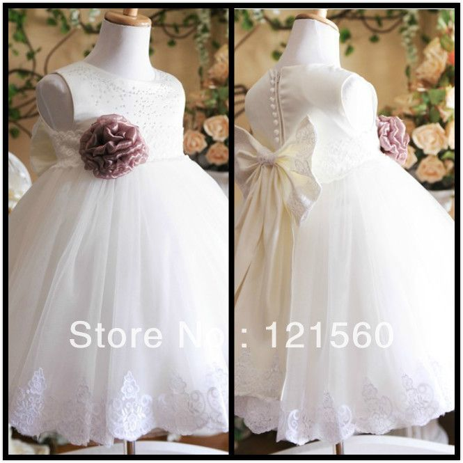 Free shipping  White princess flower girls  dress   Dress party evening elegant  2-12 age