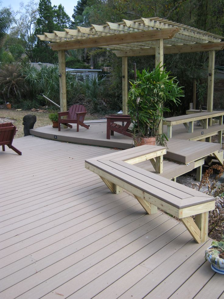Built in composite deck benches wise women pinterest for Compsite decking