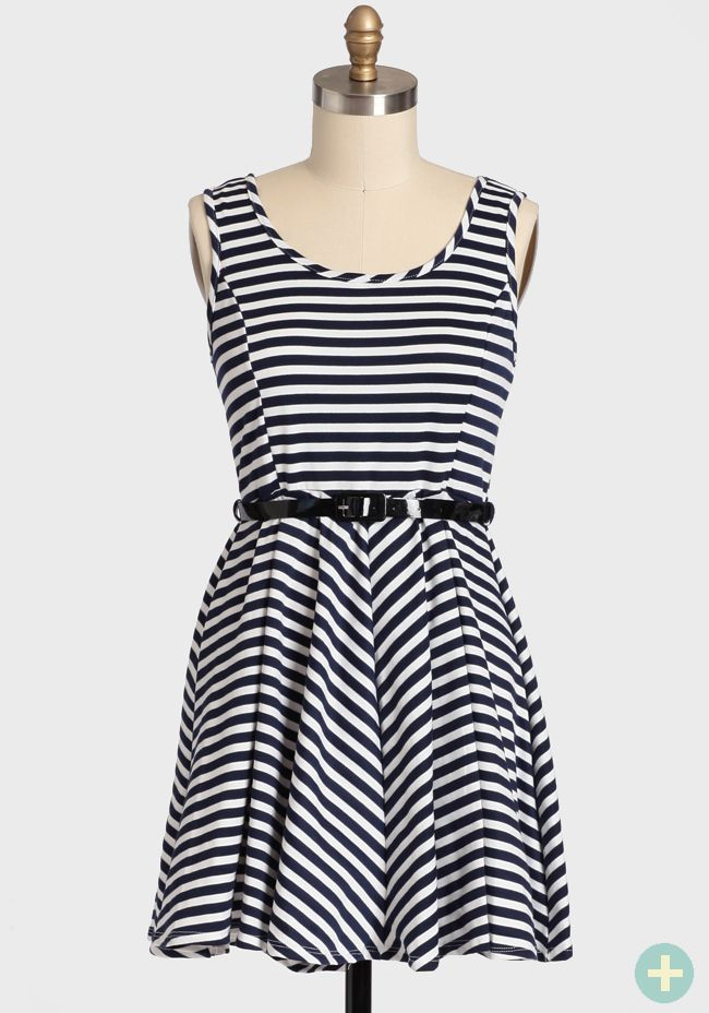 Our Song Curvy Plus Belted Dress In Navy 42.99 at shopruche.com. A playful silhouette is paired with whimsical navy and white stripes to  create this beautiful and feminine dress. Oh-so-soft, this knit dress is perfected with an optional patent leatherette belt, a  charming circle skirt for graceful...