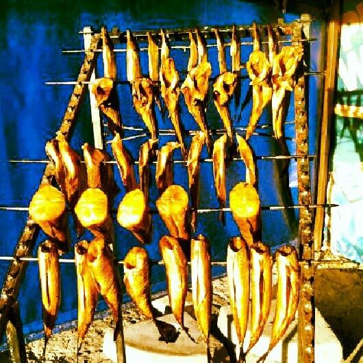 Freshly smoked fish for breakfast, Międzyzdroje
