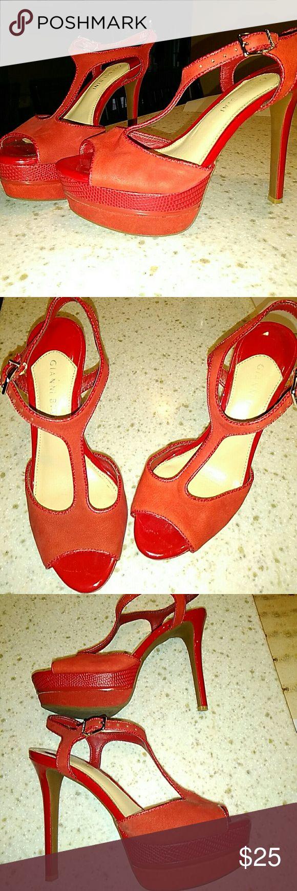 Red Gianni Bini high heels size 6.5 Beautiful red leather high heels from Gianni Bini. Size 6.5 Gianni Bini Shoes Heels