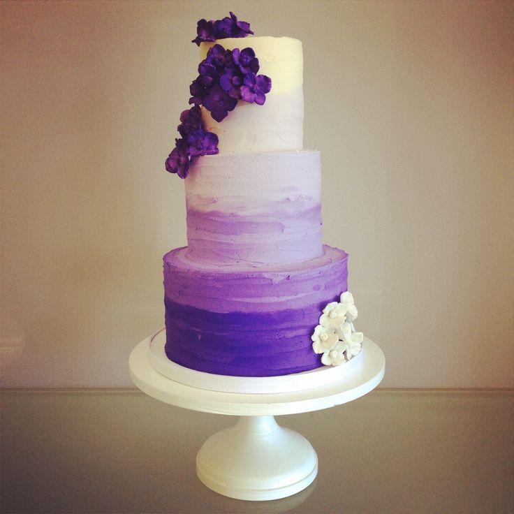 Purple ombre buttercream with sugar hydrangeas. Love. OH