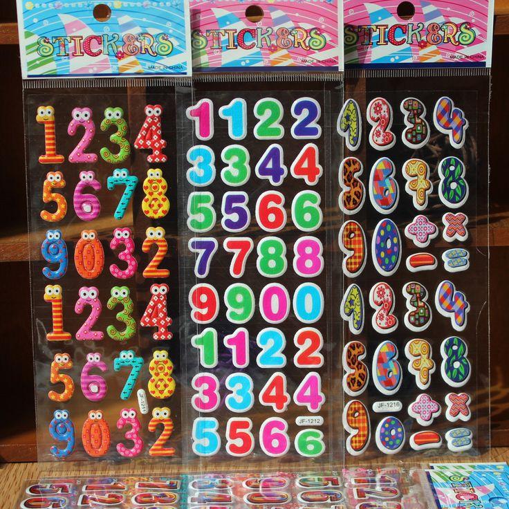 10 листов Номеров Цифровой познание Наклейки Дневник Наклейки Мультфильм Для Детей Дети Мультфильм 3D Наклейки Девушки Парни Классические Игрушки купить на AliExpress