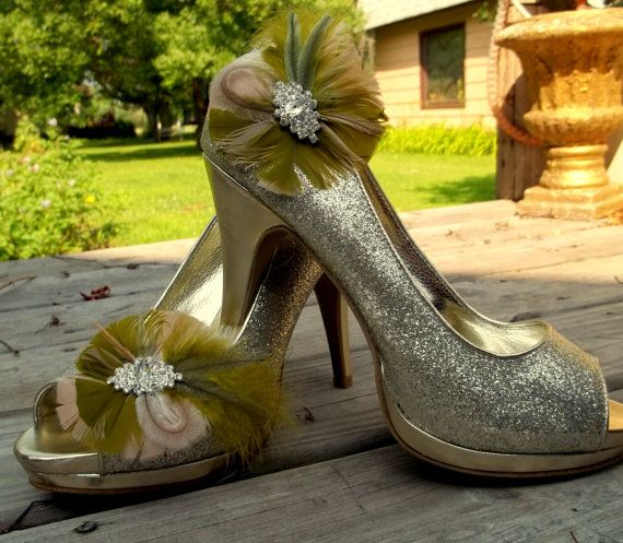 Wedding Shoe Clips  Camouflage Feather Shoe Clips by ShoeClipsOnly, $38.00