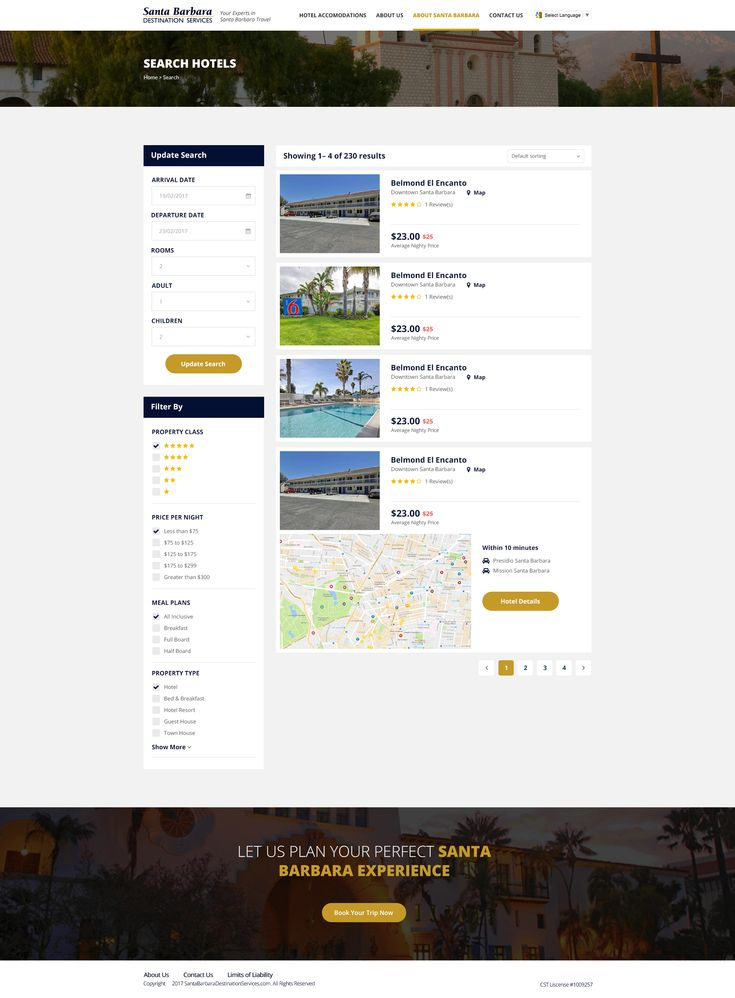 Hotel search website design mockup