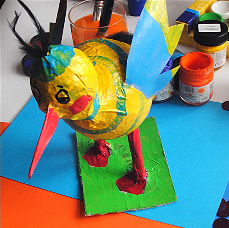 this bird was made from balloons and papier mache.
