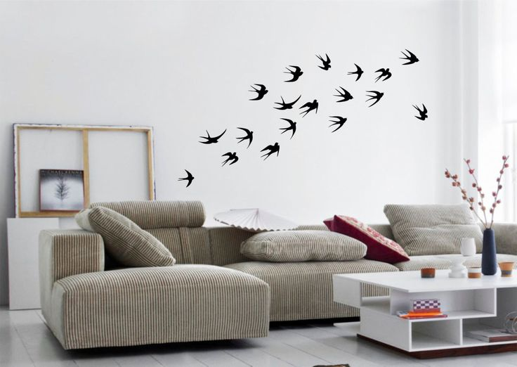FLYING SWALLOWS Flock of Birds Silhouette set of 18 -  wall art vinyl sticker decals by aztecgraphics on Etsy https://www.etsy.com/uk/listing/236723035/flying-swallows-flock-of-birds