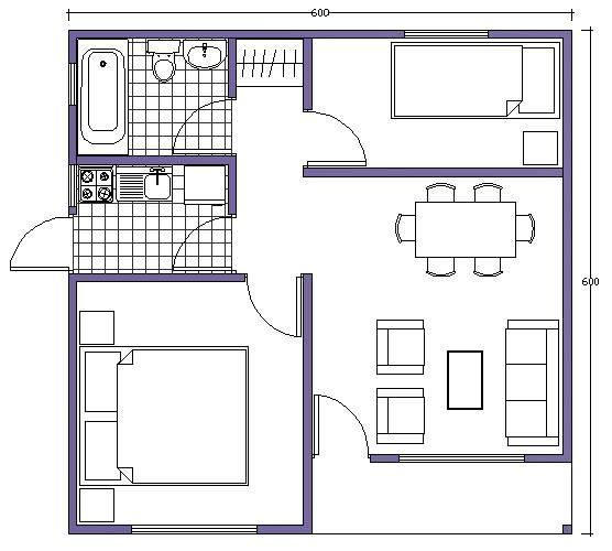 Plano de casa b sico con medidas de 36m2 y 2 dormitorios for Medidas de arquitectura