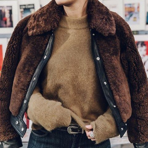 Cozy Jacket & Jumper combo! Turtle neck camel jumper and a brown faux fur coat layered is the perfect winter attire.
