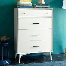 Mid-Century 4-Drawer Dresser - White