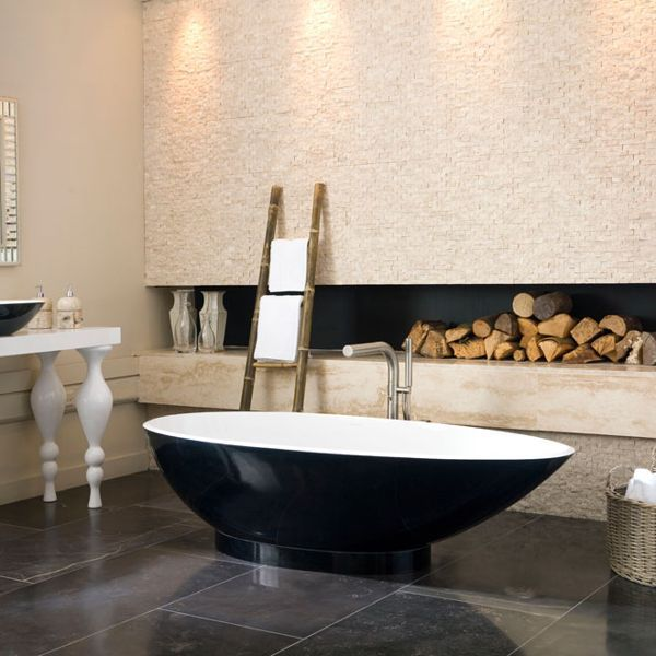 """Natural textures like brick, wood and marble are combined with modern materials and shapes; creating a contrast that, rather like mixing vintage and contemporary furniture, really works.   Napoli Collection from [link url=""""http://www.vandabaths.com/uk/""""]Victoria & Albert Baths[/link]"""