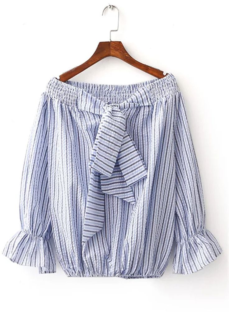 Women's Color Block Striped Print Off Shoulder Blouse