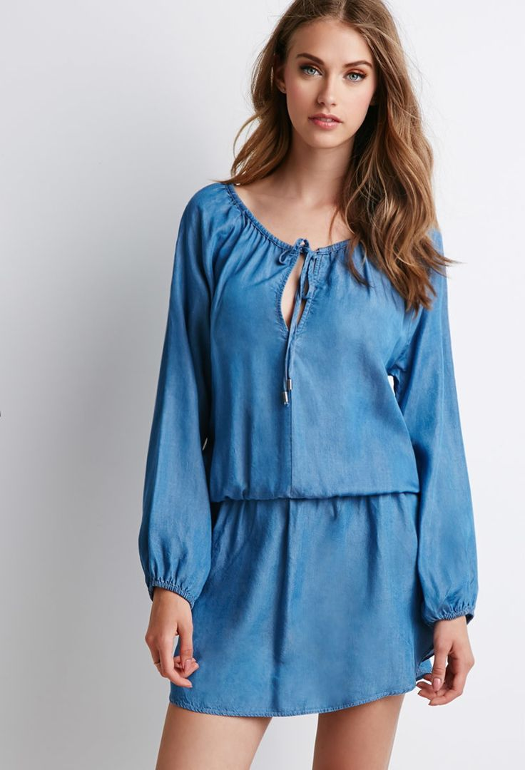 Chambray Peasant Dress