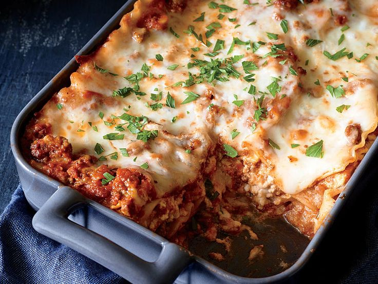 Classic Lasagna with Meat Sauce | We've rounded up 15 of our cheesiest recipes, fromgooey grilled cheese to cheesy chicken enchiladas.