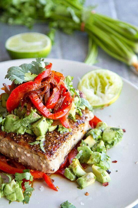 tuna steaks, avocado, red bell pepper...soo good.